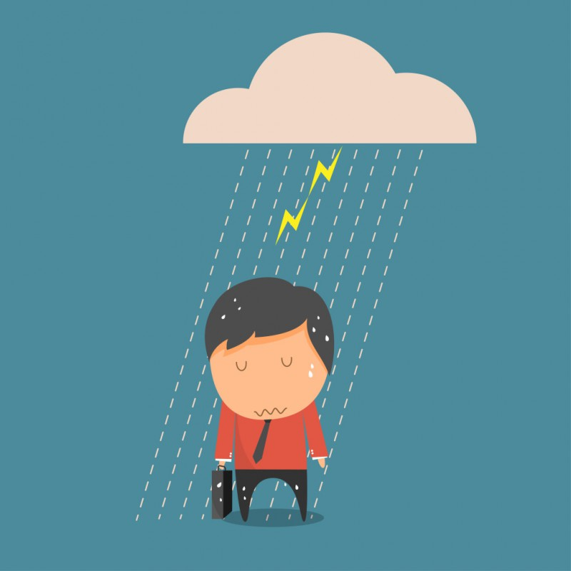 Concept of businessman fail , Businessman rain. Vector illustration